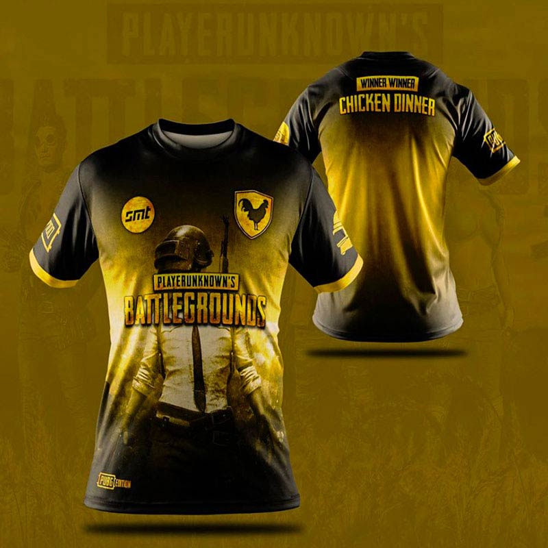 PUBG T-Shirts Yellow Printing